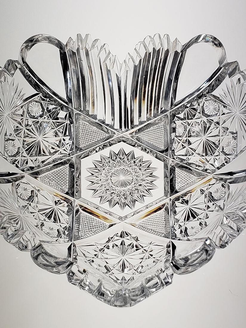 American Brilliant Period cut glass heart shape dish - 6