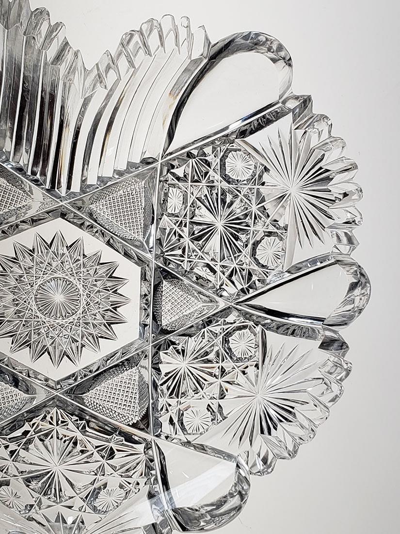 American Brilliant Period cut glass heart shape dish - 8
