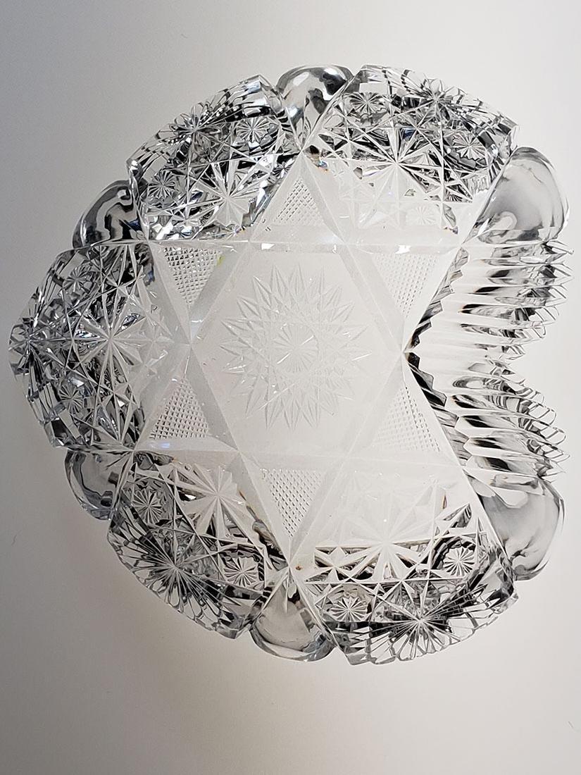 American Brilliant Period cut glass heart shape dish - 9