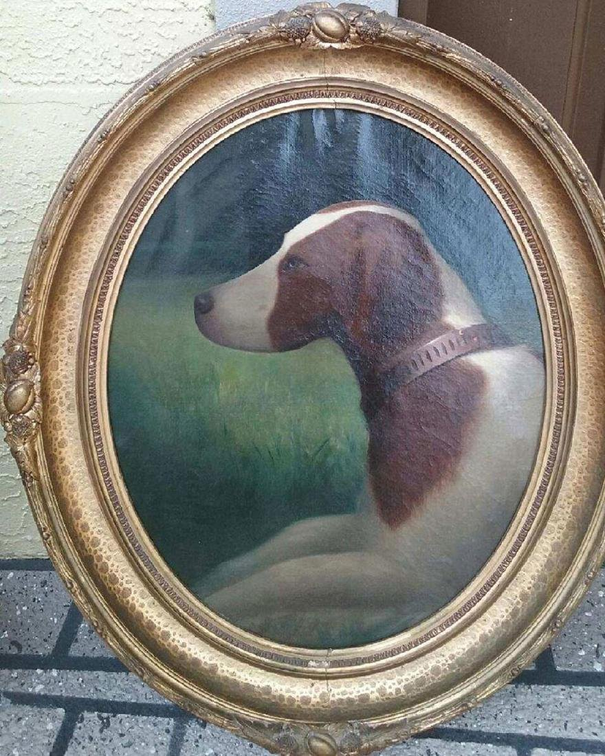 19th c portrait painting of a dog