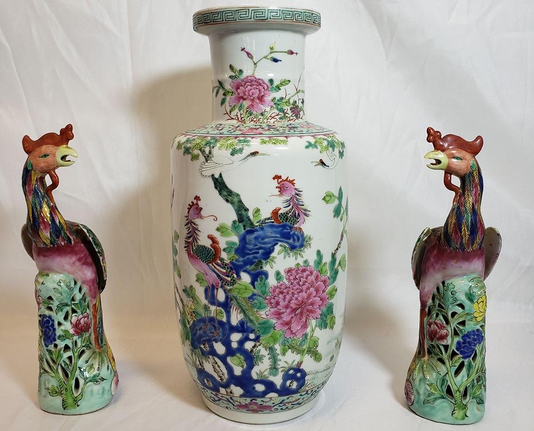 Lot of Chinese porcelain vase and export birds w/ Mark
