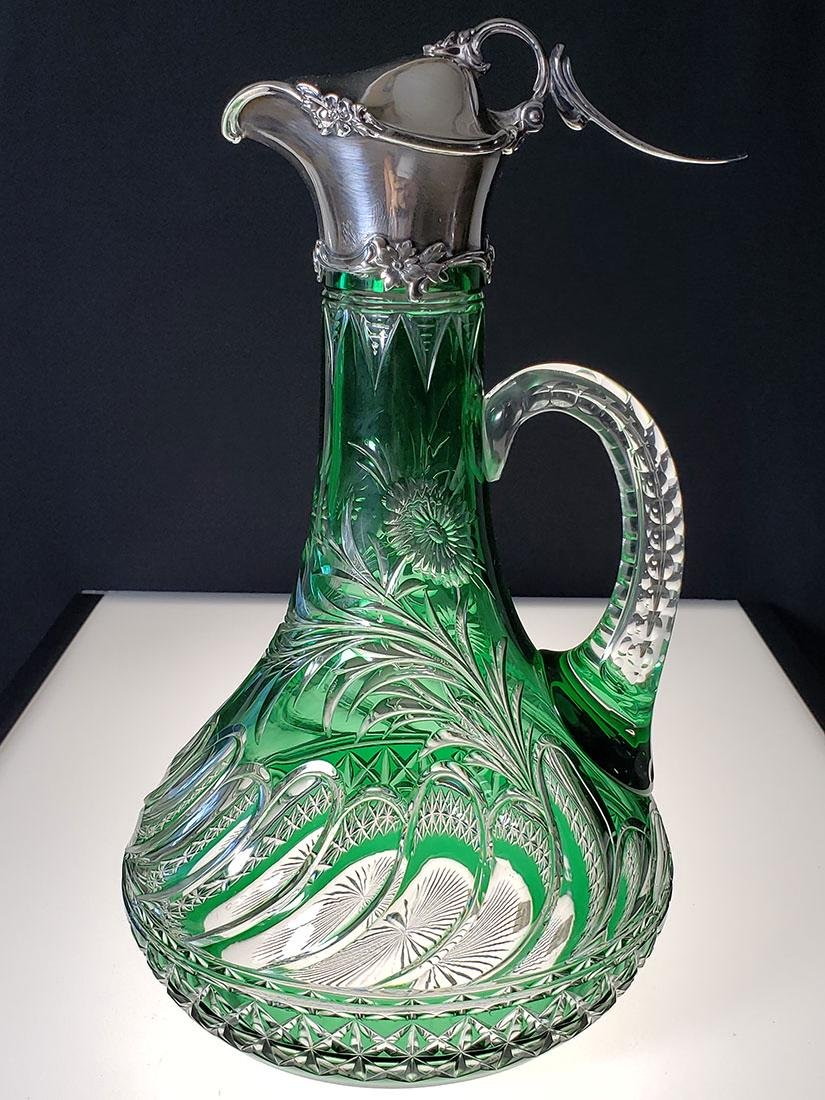 American Brilliant Period green cut to clear ewer
