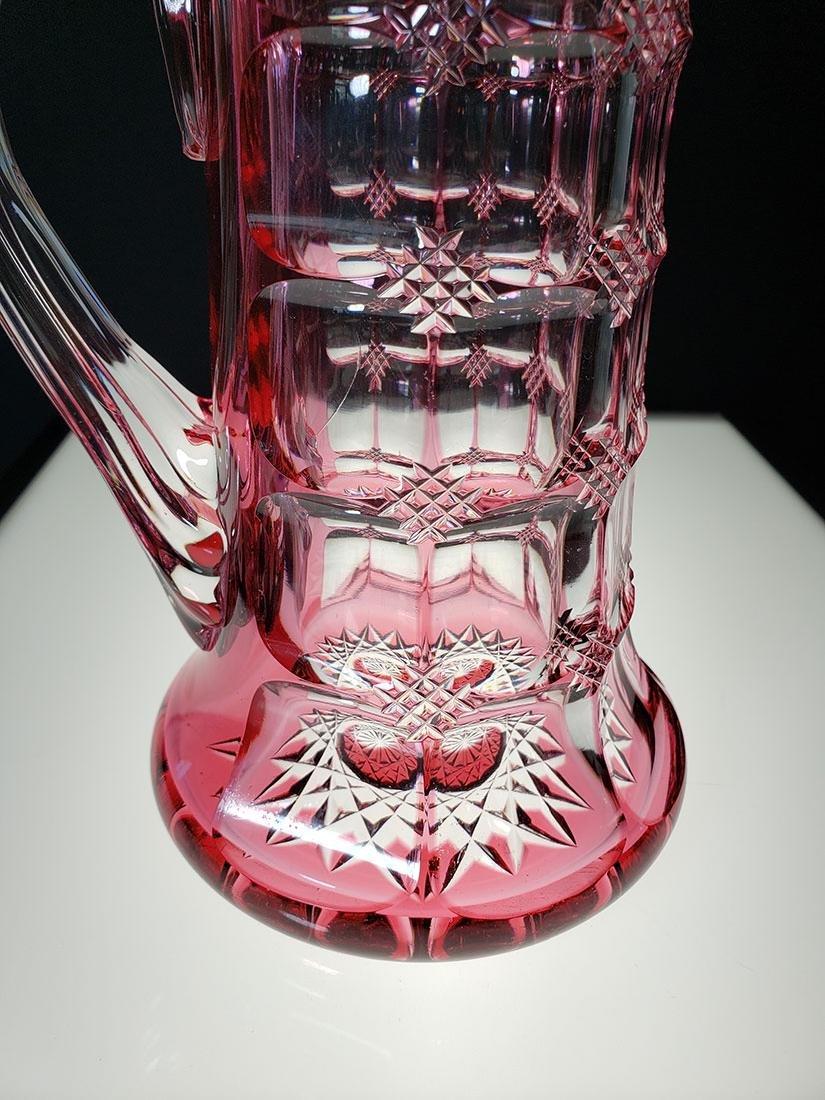American Brilliant Perd cranberry cut to clear pitcher - 2