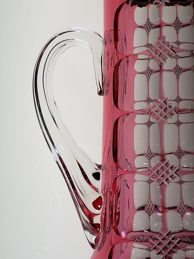 American Brilliant Perd cranberry cut to clear pitcher - 9