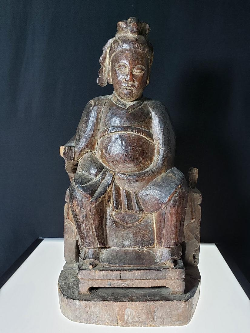 Antique Chinese figure carved wood 19 c