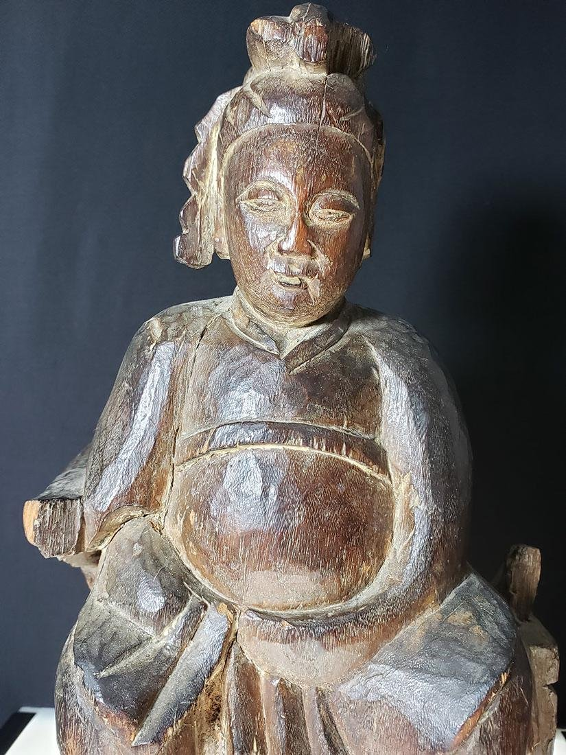 Antique Chinese figure carved wood 19 c - 2