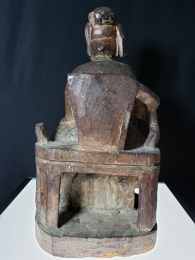 Antique Chinese figure carved wood 19 c - 4