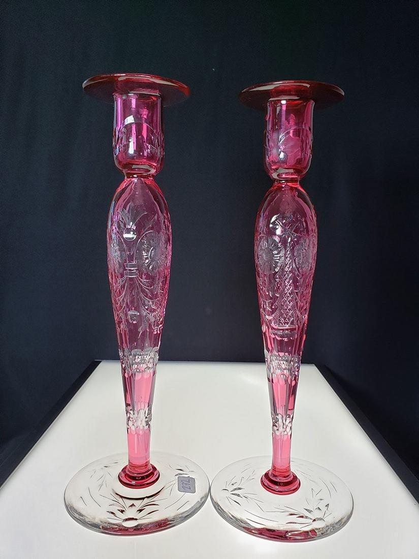 American Brilliant Perd cut glass Libbey candle sticks