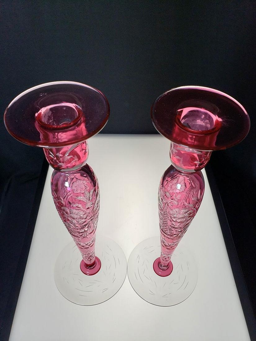 American Brilliant Perd cut glass Libbey candle sticks - 2