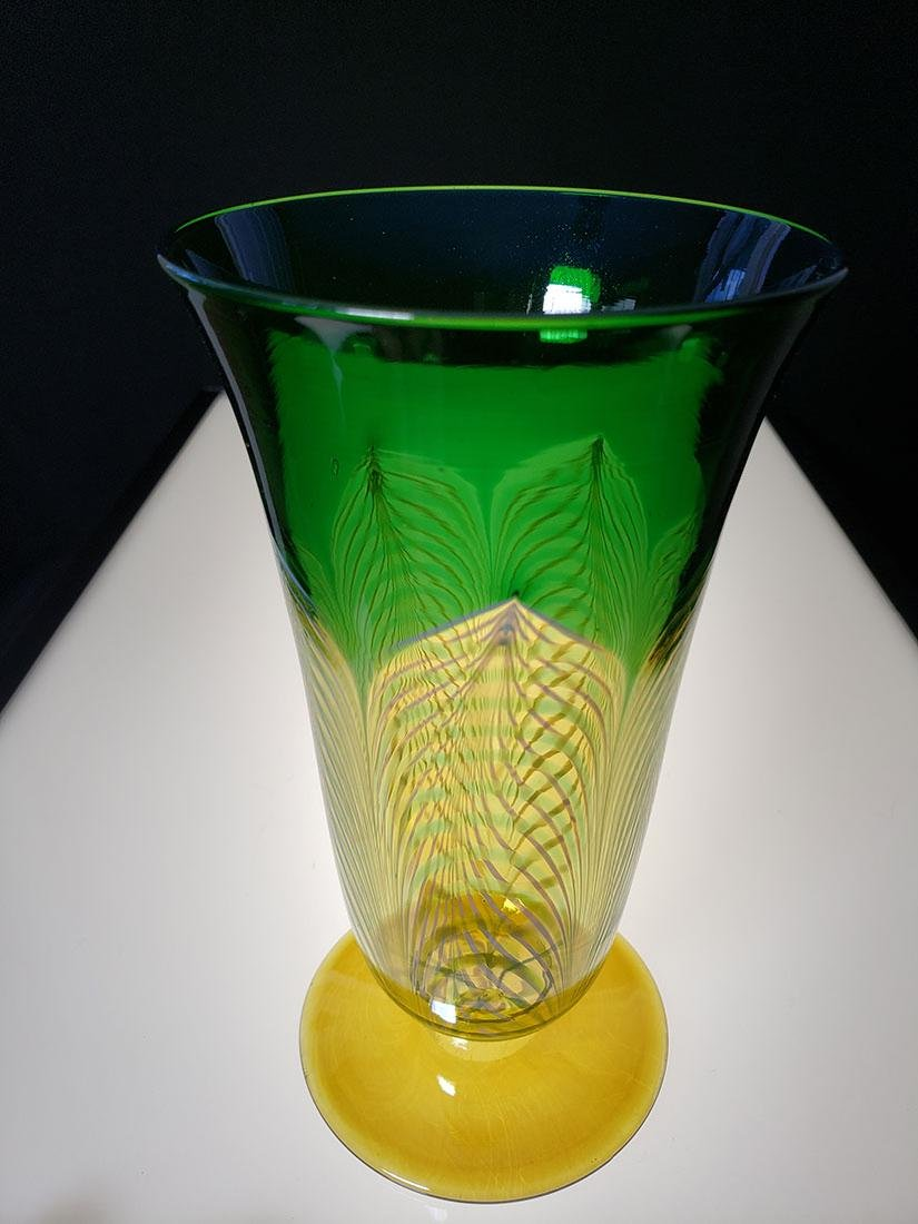 A fine Durand pulled feather parfait art glass