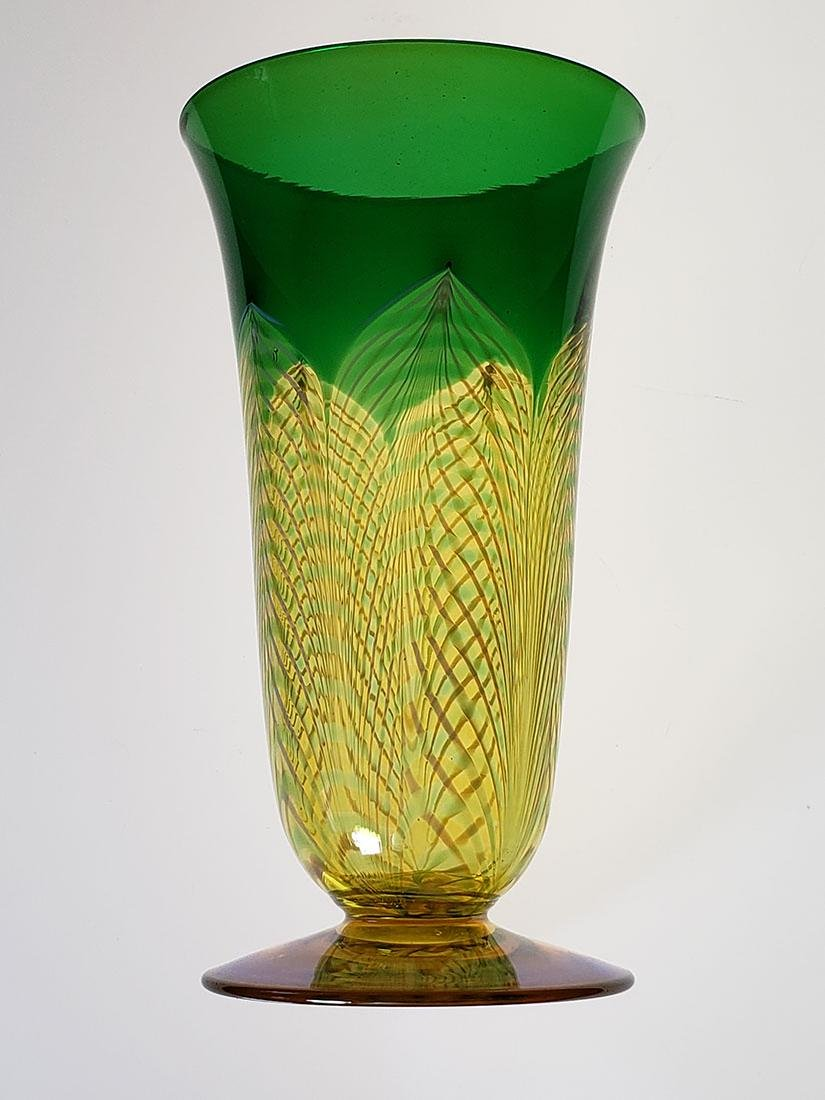 A fine Durand pulled feather parfait art glass - 4