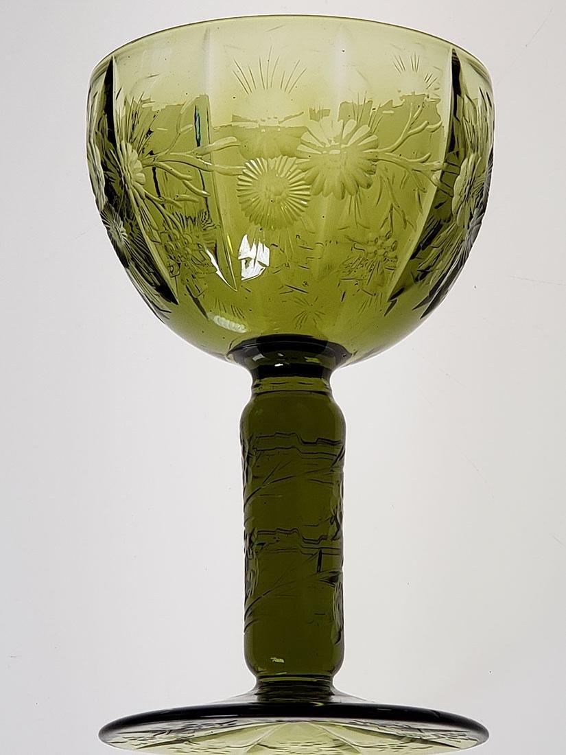 American Brilliant Period olive green cut glass wine - 10