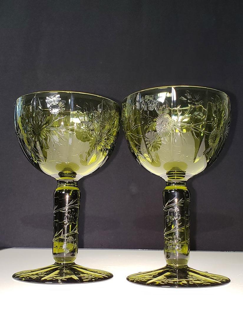 American Brilliant Period olive green cut glass wine
