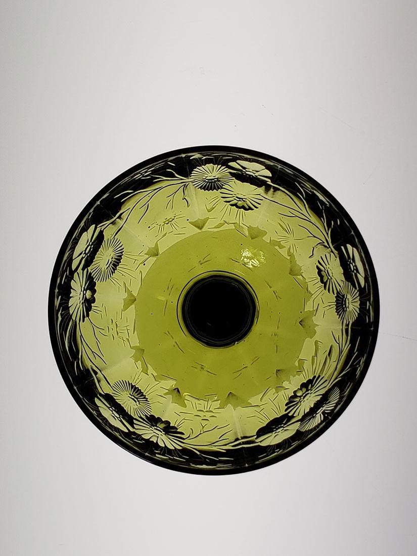 American Brilliant Period olive green cut glass wine - 3
