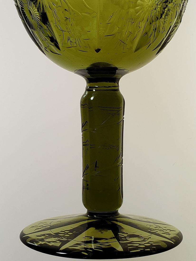 American Brilliant Period olive green cut glass wine - 6