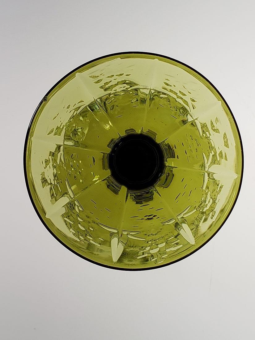 American Brilliant Period olive green cut glass wine - 7