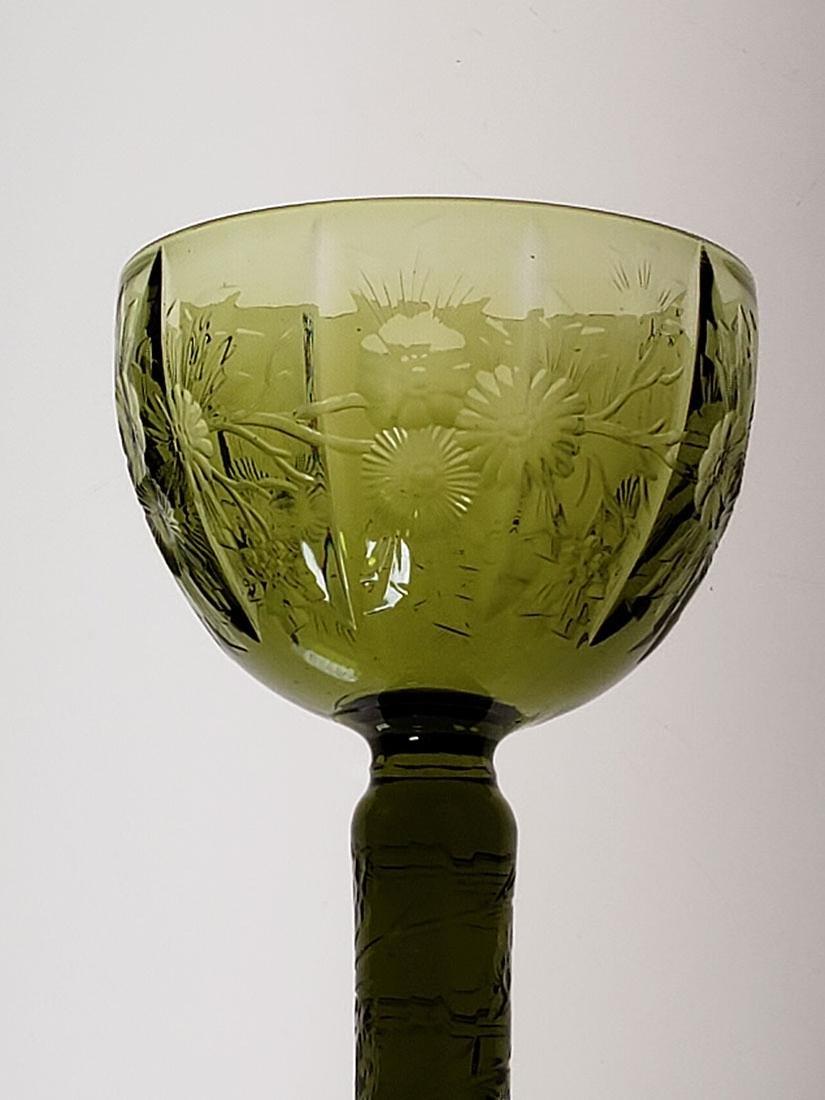 American Brilliant Period olive green cut glass wine - 9