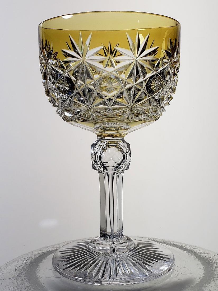American Brilliant Period gold cut to clear wine glass