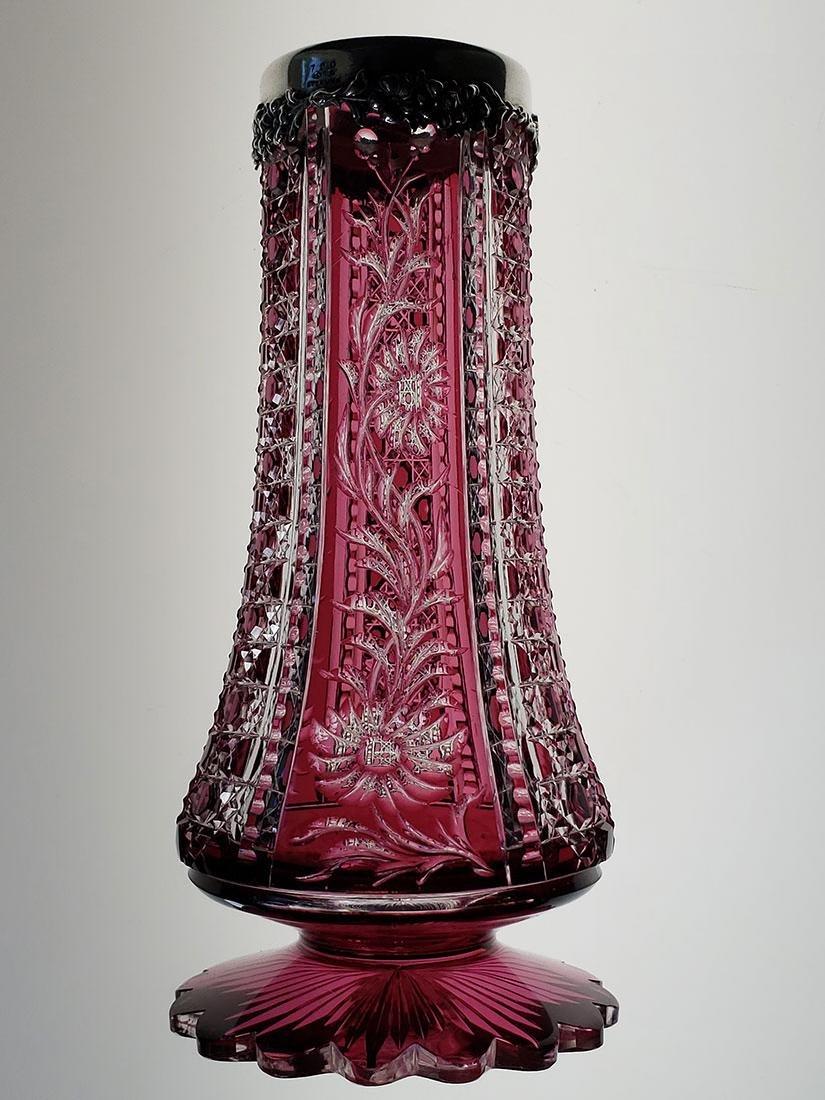American Brilliant Period amethyst cut to clear vase - 4