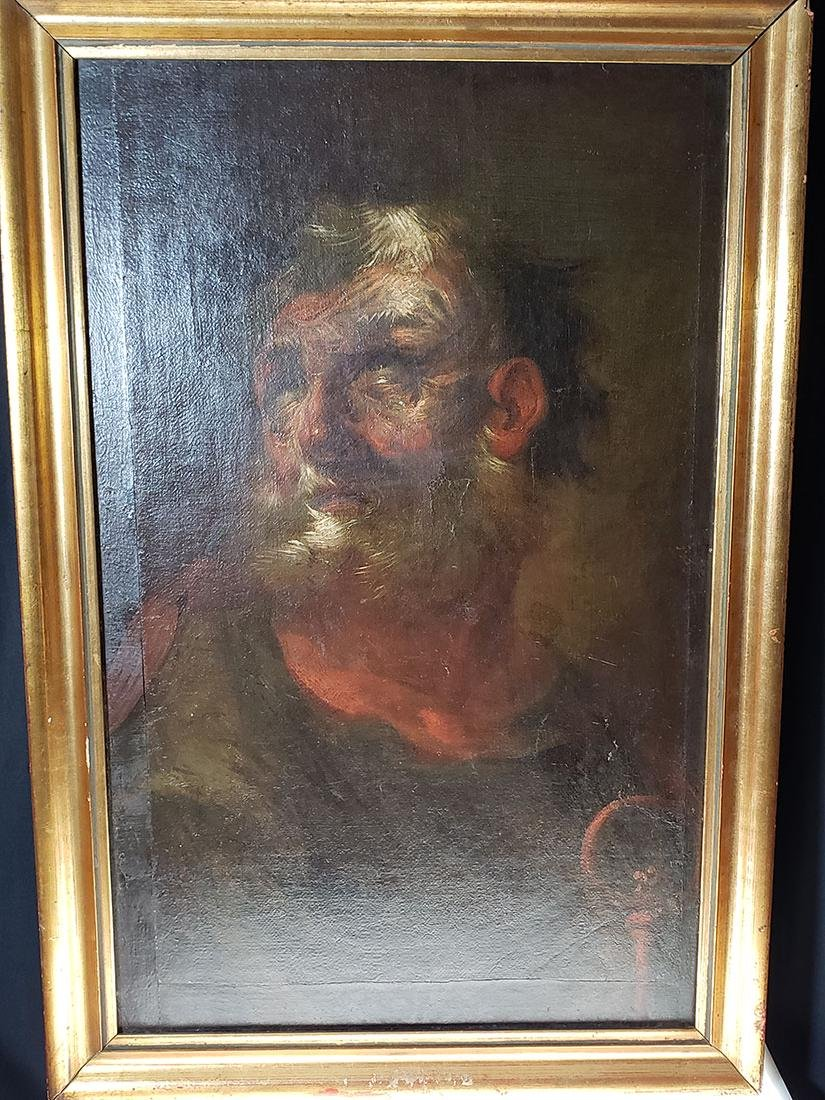 Old master O/C St Peter portrait painting 18 c