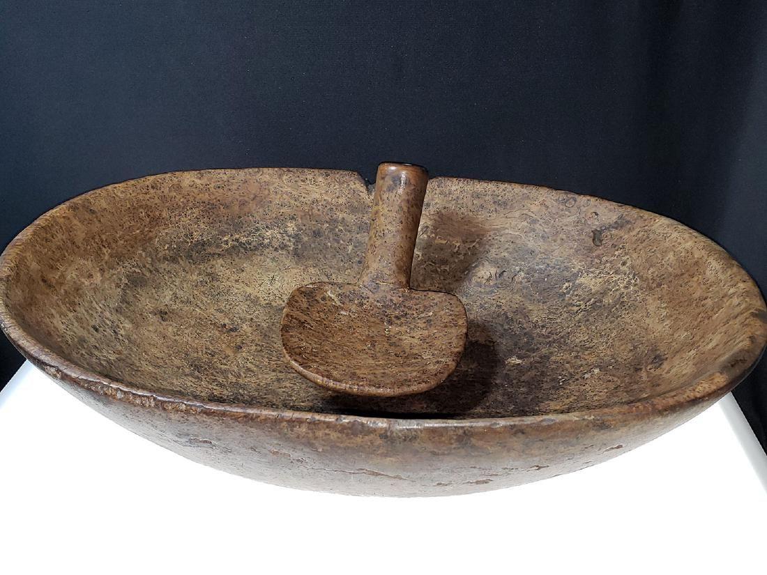 Fine Burled Wood Bowl w/Spoon possibly Native
