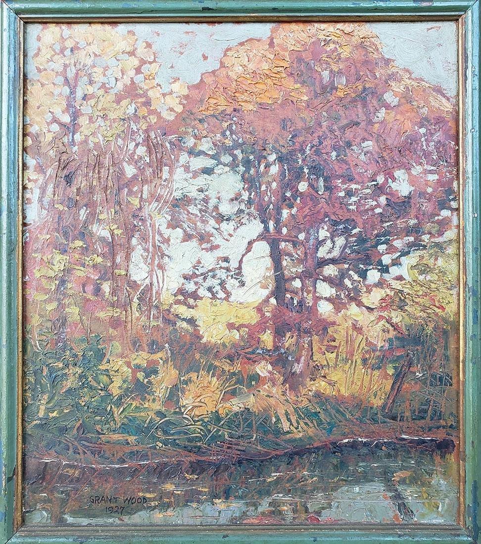GRANT WOOD (Amer 1891-1942) 1927 Oil autumn landscape