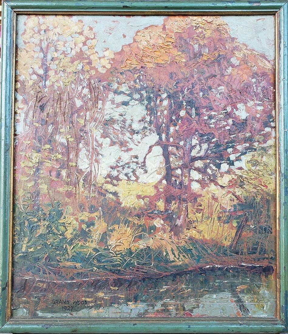 GRANT WOOD (Amer 1891-1942) 1927 Oil autumn landscape - 3