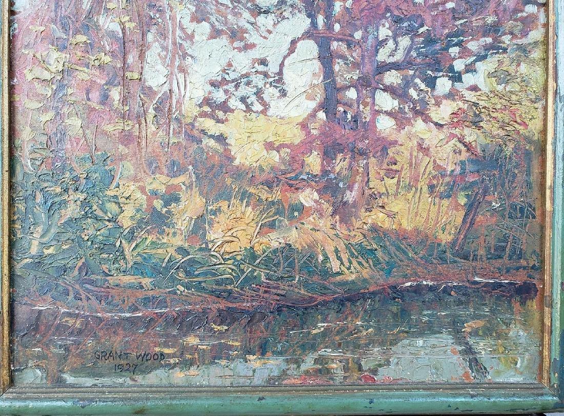 GRANT WOOD (Amer 1891-1942) 1927 Oil autumn landscape - 4