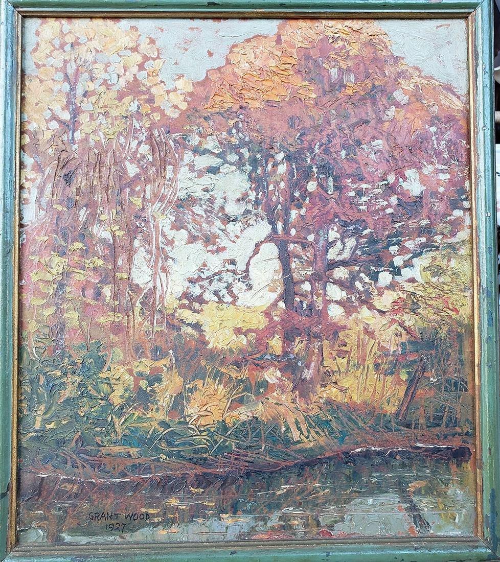 GRANT WOOD (Amer 1891-1942) 1927 Oil autumn landscape - 7