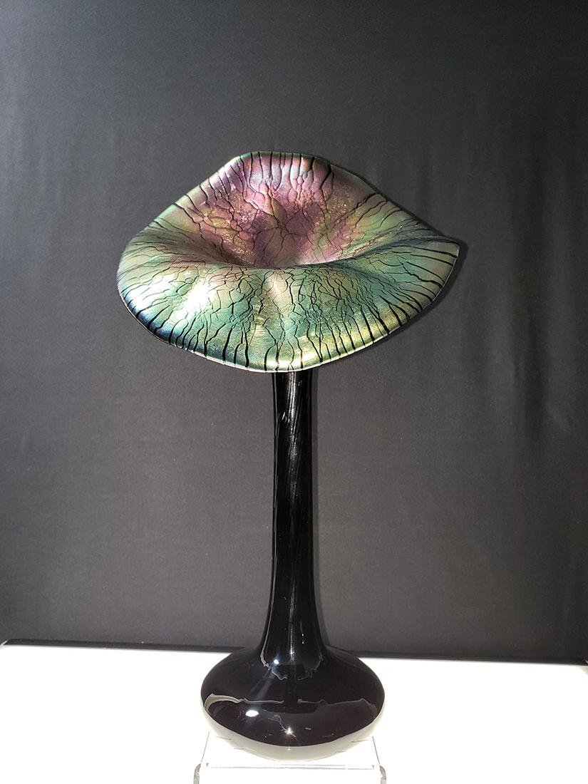 Vintage art glass jack in pulpit vase 1920's - 3