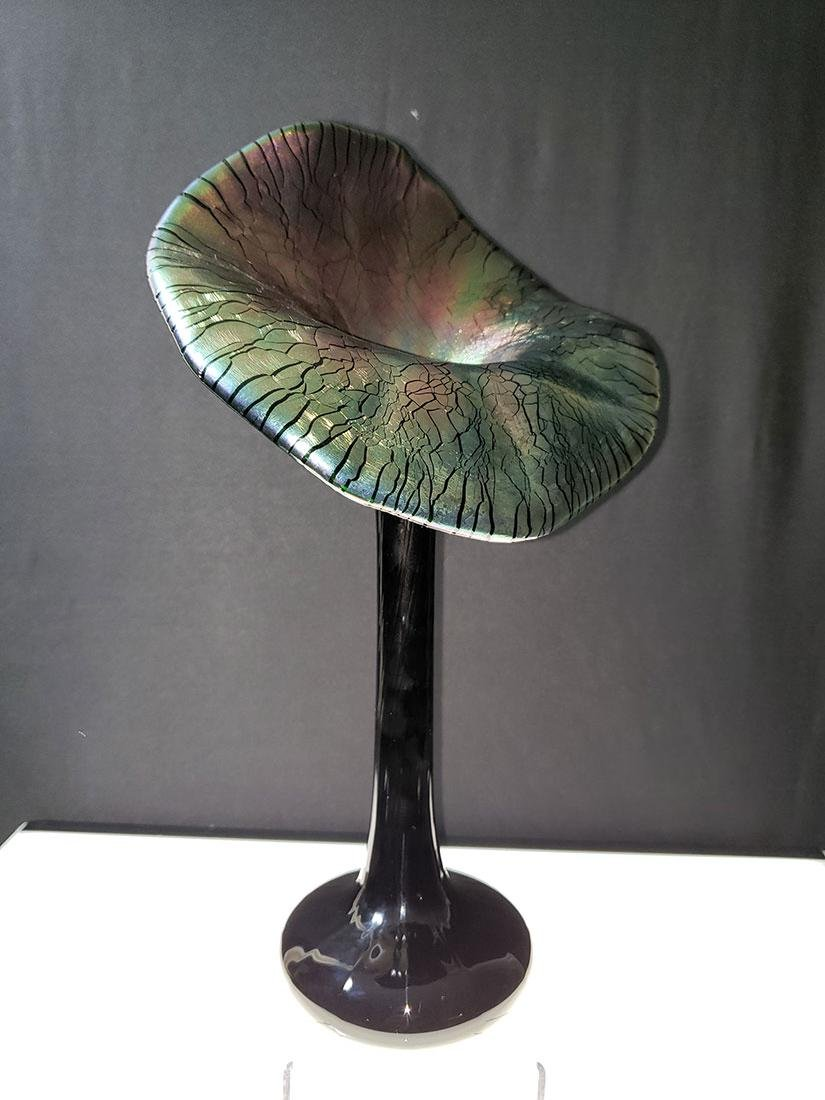Vintage art glass jack in pulpit vase 1920's - 7