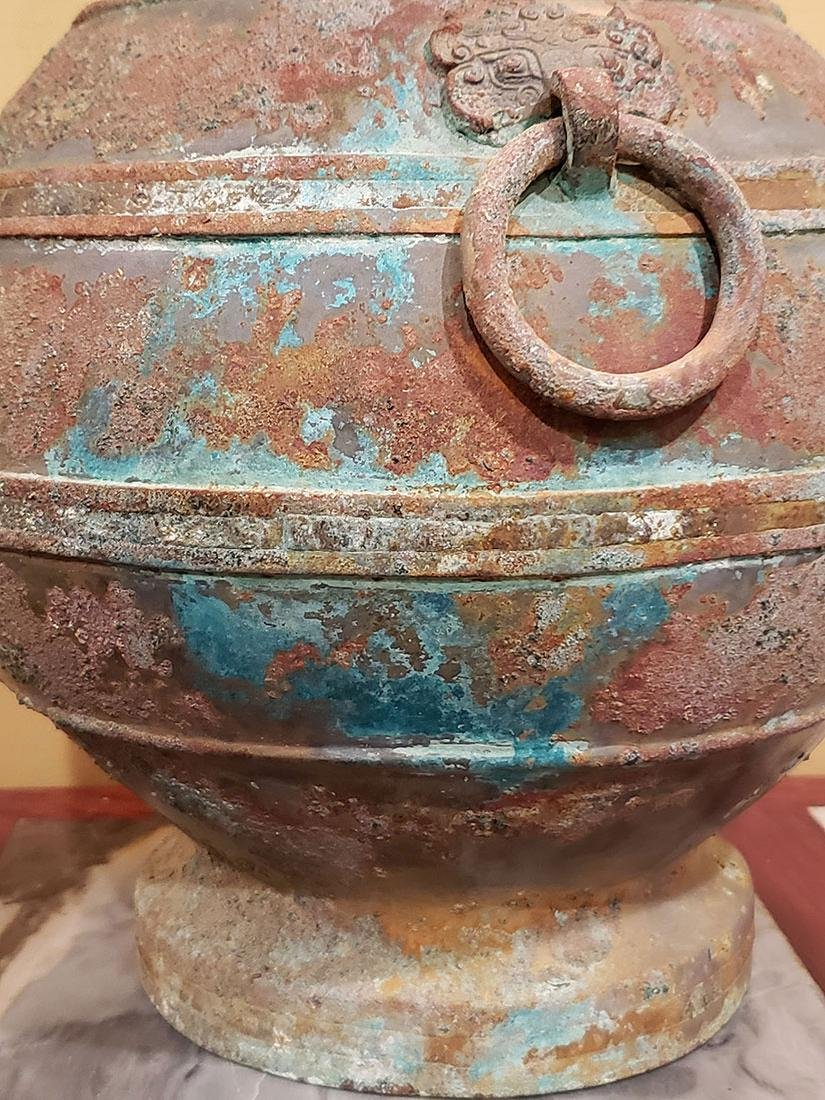 Chinese bronze Hu form vase Han Dynasty copper inlay - 10