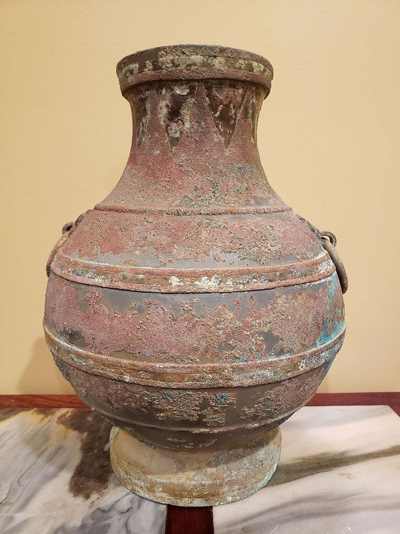 Chinese bronze Hu form vase Han Dynasty copper inlay