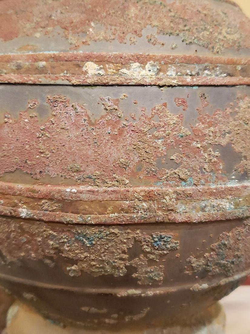 Chinese bronze Hu form vase Han Dynasty copper inlay - 4