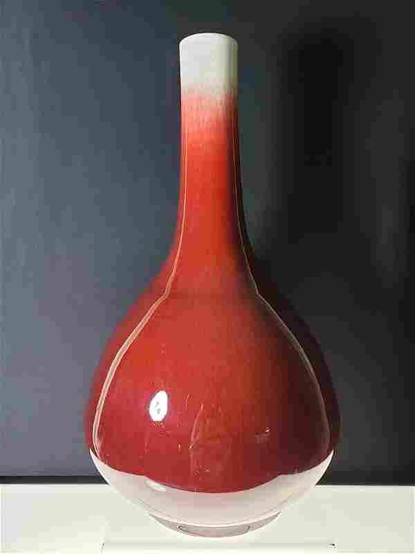 18-19 c Chinese Oxblood red glaze Vase