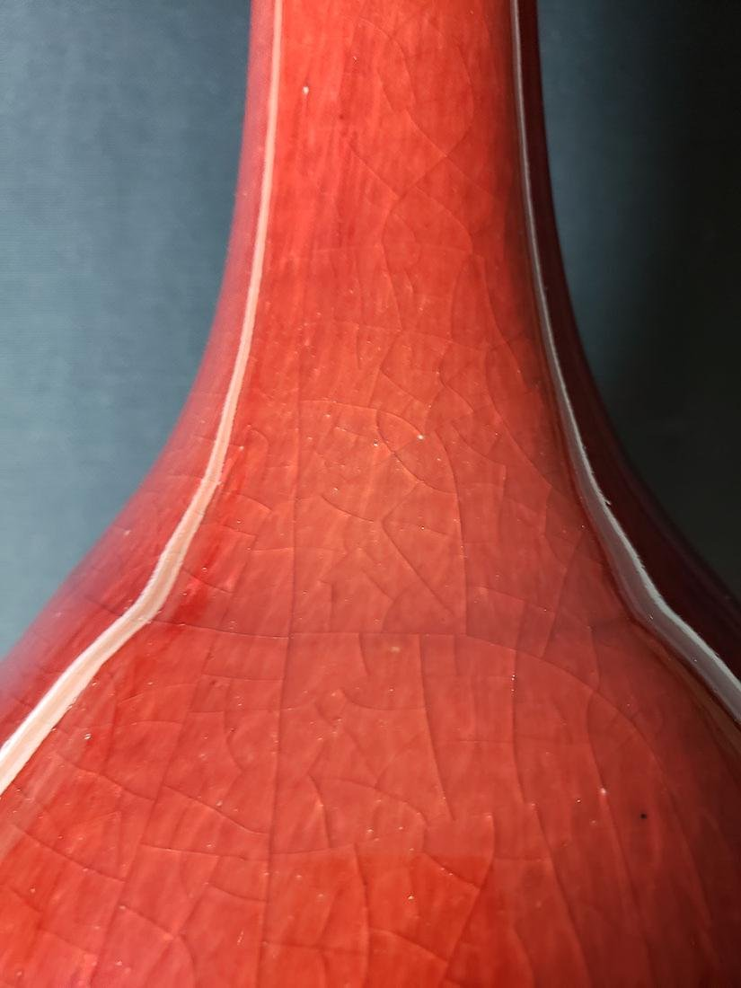 18-19 c Chinese Oxblood red glaze Vase - 3