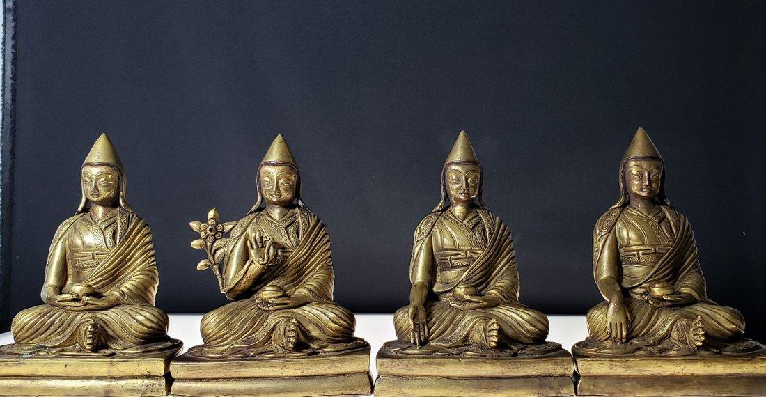 Set of 4 sino gilt bronze buddha lamas 18-19 c