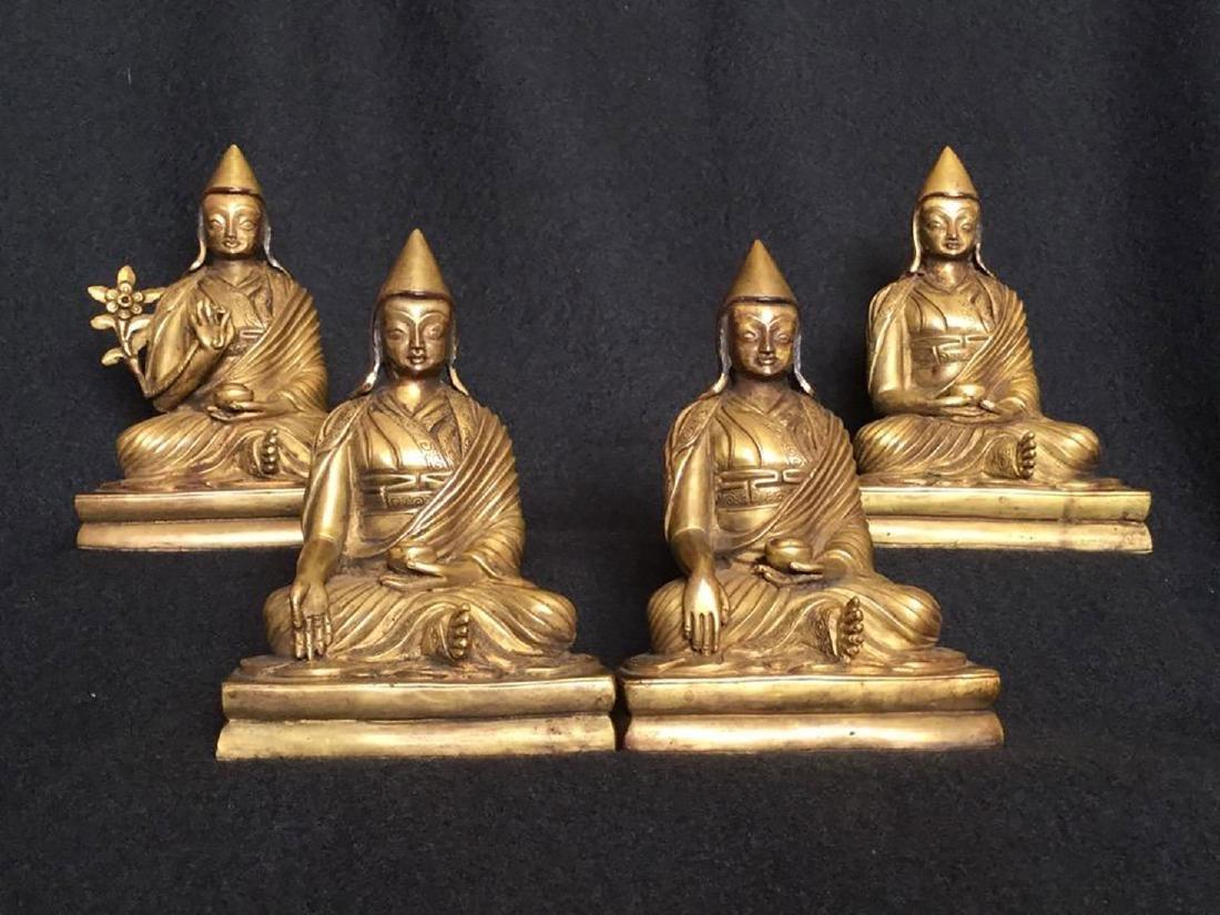 Set of 4 sino gilt bronze buddha lamas 18-19 c - 2