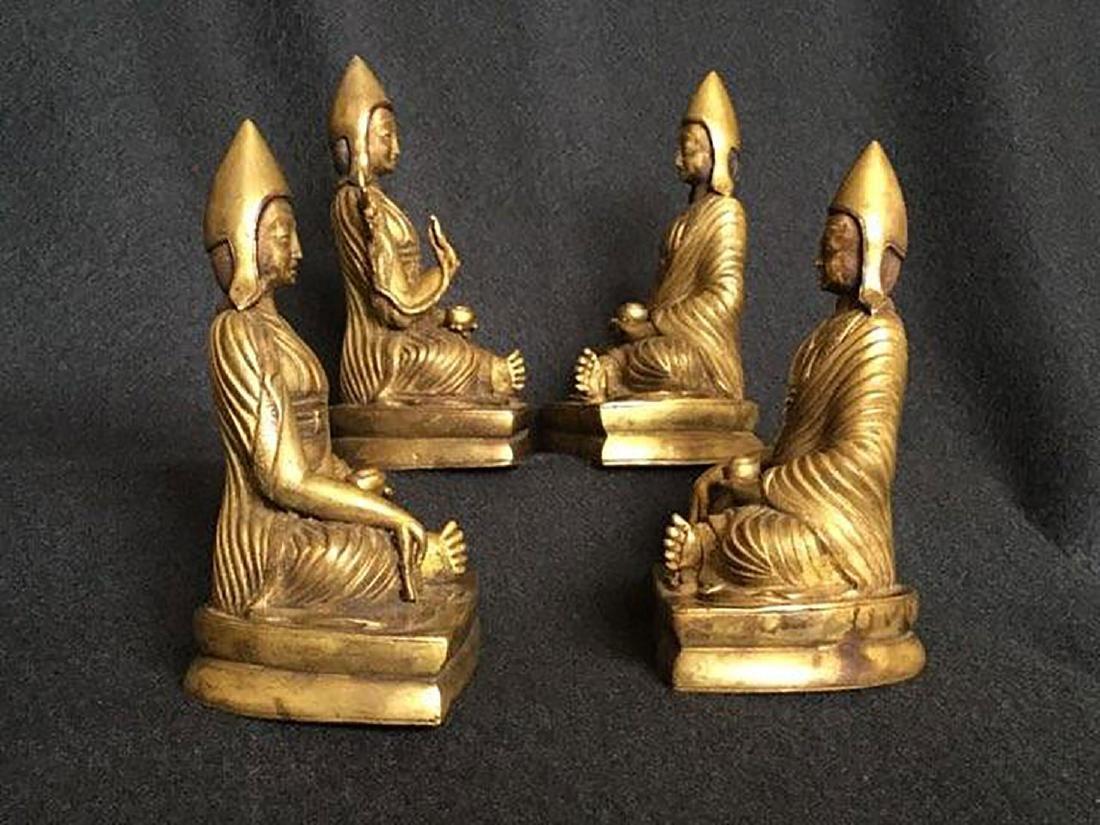 Set of 4 sino gilt bronze buddha lamas 18-19 c - 5