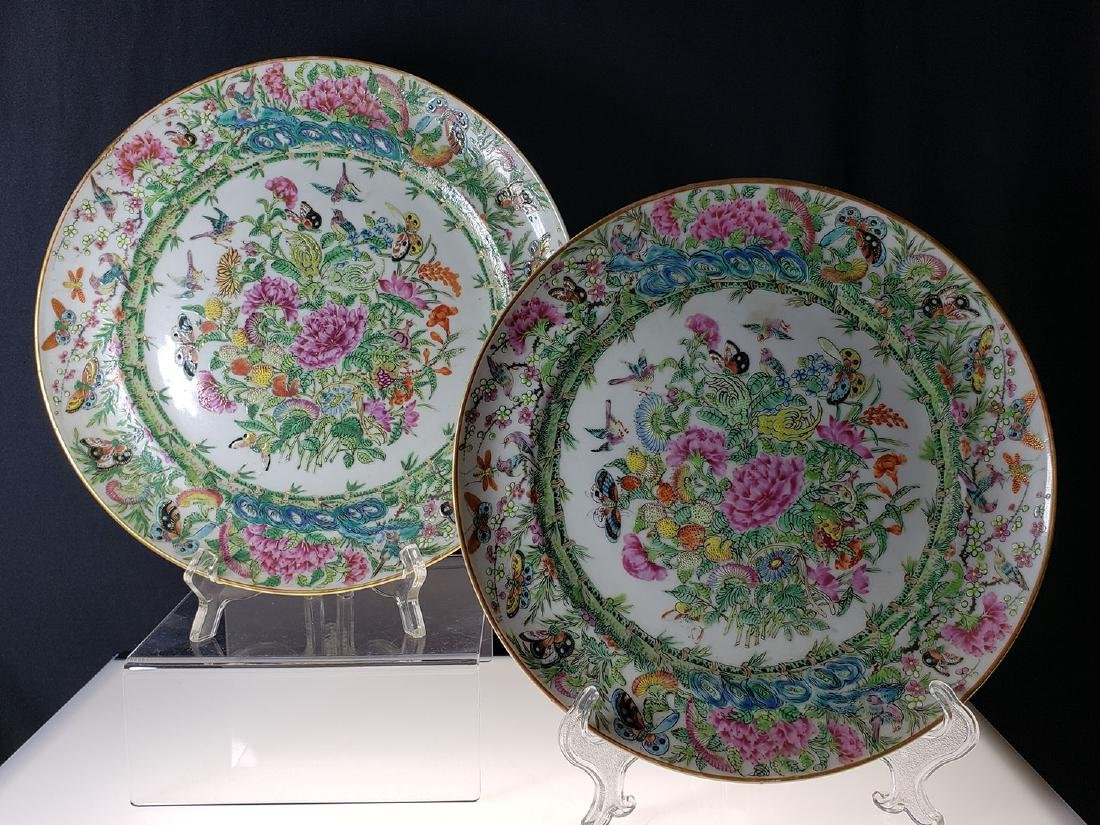 Lot 2 Chinese Export Rose Medallion Plates - 10