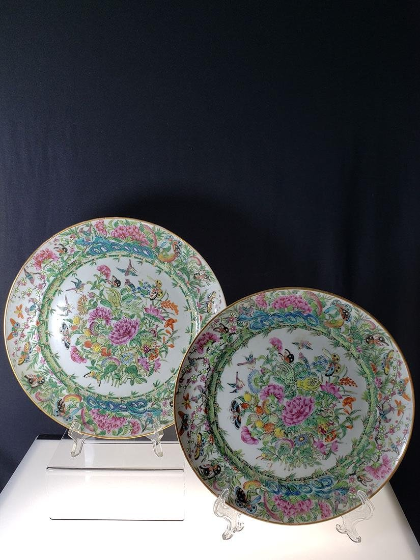 Lot 2 Chinese Export Rose Medallion Plates