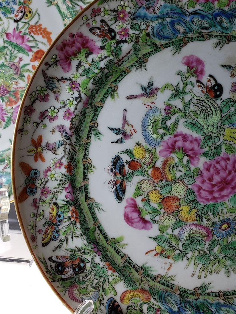Lot 2 Chinese Export Rose Medallion Plates - 5