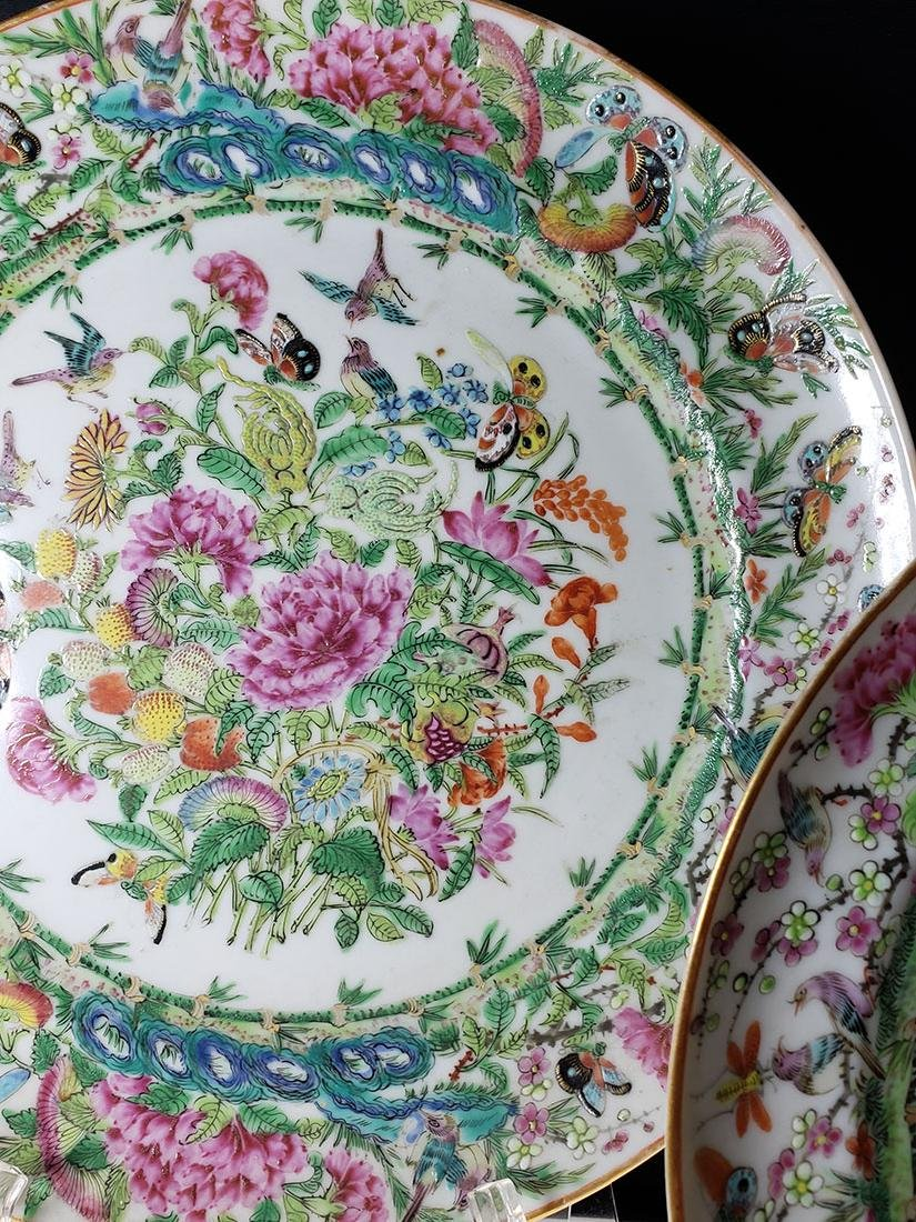Lot 2 Chinese Export Rose Medallion Plates - 6