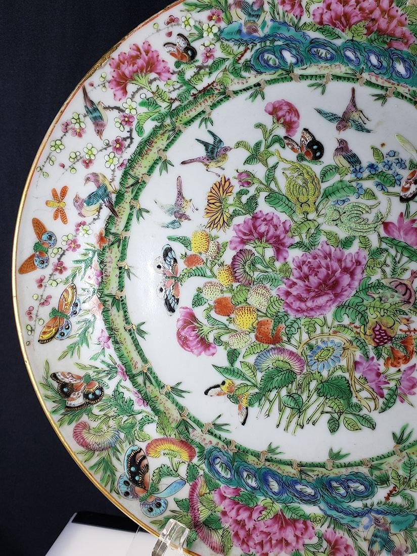 Lot 2 Chinese Export Rose Medallion Plates - 7