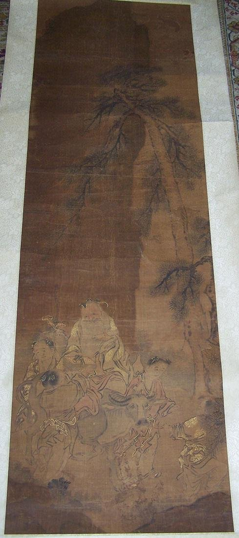 Qing period Chinese silk scroll painting