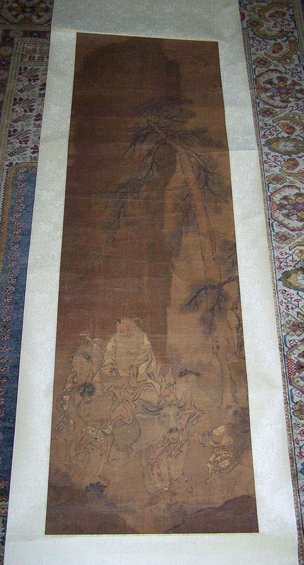 Qing period Chinese silk scroll painting - 2