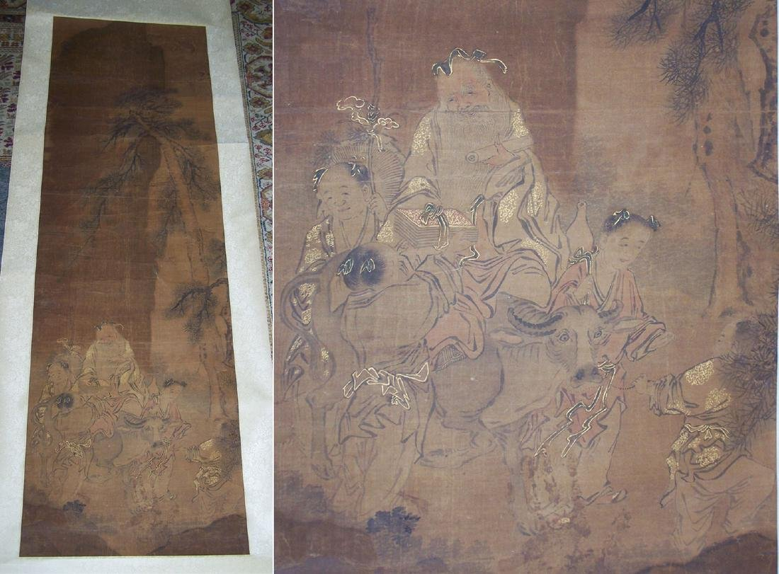Qing period Chinese silk scroll painting - 4