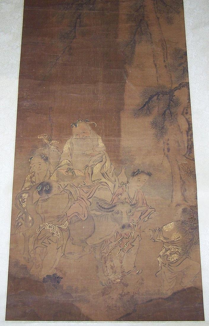 Qing period Chinese silk scroll painting - 9