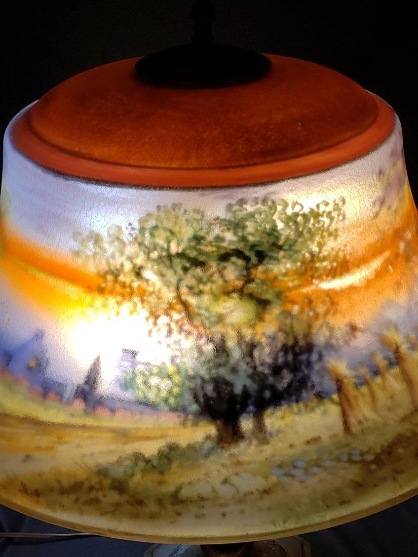 A lg fine signed Pairpoint reverse painted lamp - 10