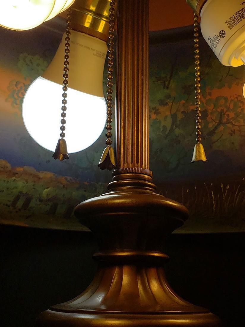 A lg fine signed Pairpoint reverse painted lamp - 6